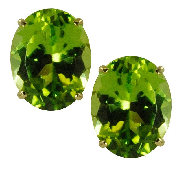 Gems For You 14k Oval Cut Peridot Stud Earrings