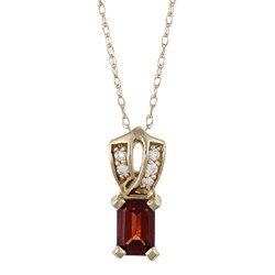 FJC 14k Yellow Gold Garnet and Diamond Accent Necklace