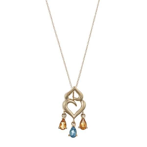 FJC 14k Gold Citrine and Blue Topaz Necklace