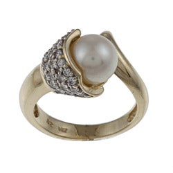 FJC 14k Gold FW Pearl and 3/5ct TDW Diamond Ring (H-I, I1-I2) (8-8.5 mm)
