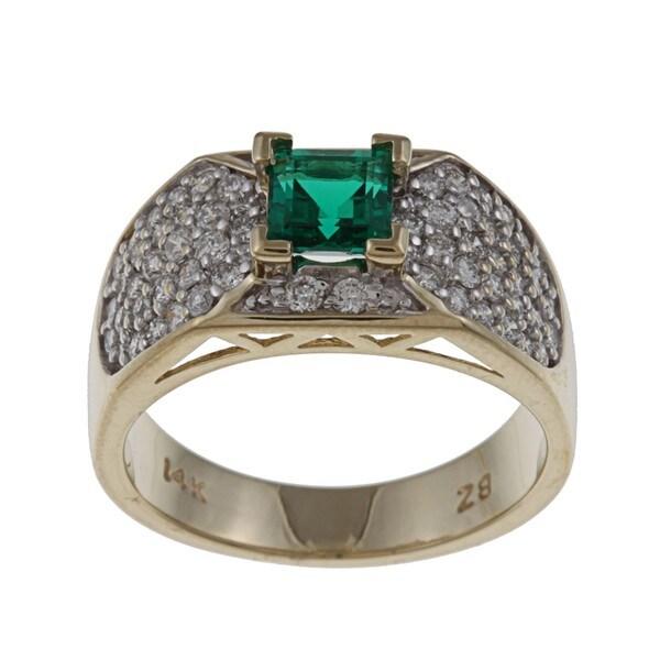 FJC 14k Gold Created Emerald and 3/4ct TDW Diamond Ring (H-I, I1-I2)