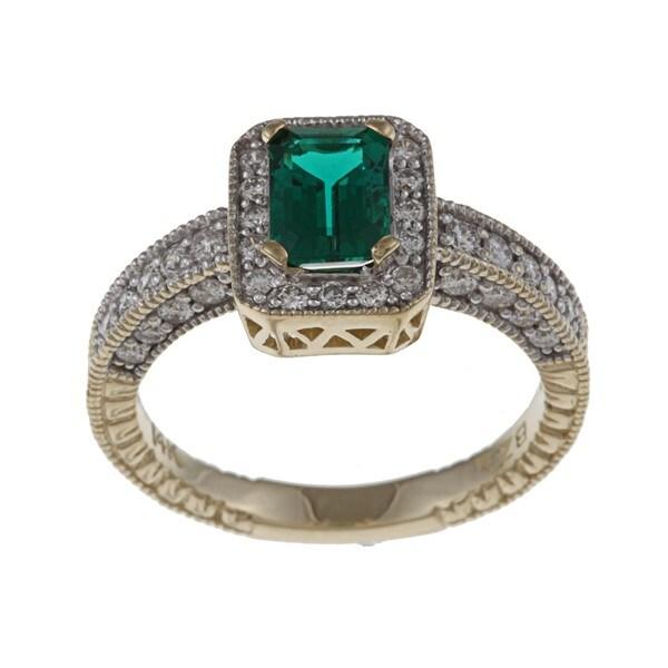 FJC 14k Gold Created Emerald and 5/8ct TDW Diamond Ring (H-I, I1-I2) Size 6