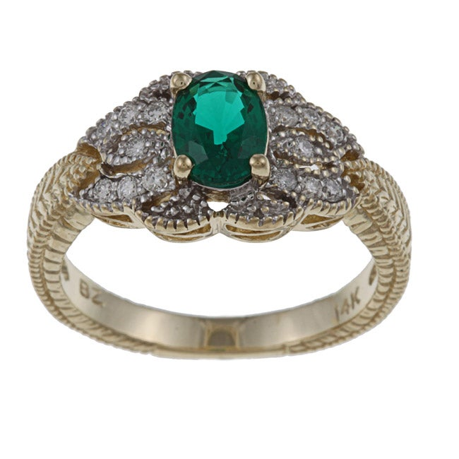 FJC 14k Gold Created Emerald and 1/6ct TDW Diamond Ring (H-I, I1-I2)
