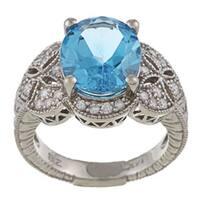 FJC 14k Gold Blue Topaz and 3/8ct TDW Diamond Ring (H-I, I1-I2)