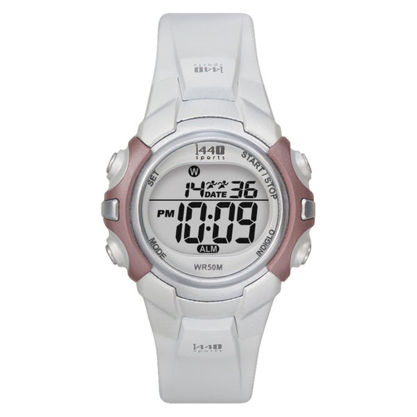 Timex Women's T5G881 1440 Sports Digital White/Silvertone/Pink Watch