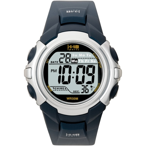 8aa90bc0e Shop Timex Men's T5J571 1440 Sports Digital Black/ Navy Watch - Free  Shipping On Orders Over $45 - Overstock - 6089773