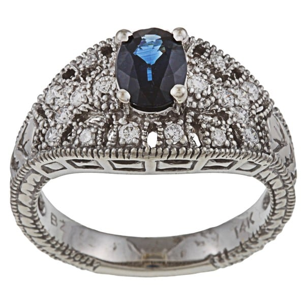 FJC 14k Gold Sapphire and 1/3ct TDW Diamond Ring (H-I, I1-I2)