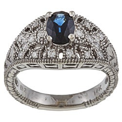 FJC 14k Gold Sapphire and 1/3ct TDW Diamond Ring (H-I, I1-I2)