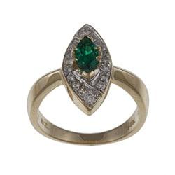 FJC 14k Gold Created Emerald and 1/3ct TDW Diamond Ring (H-I, I1-I2)