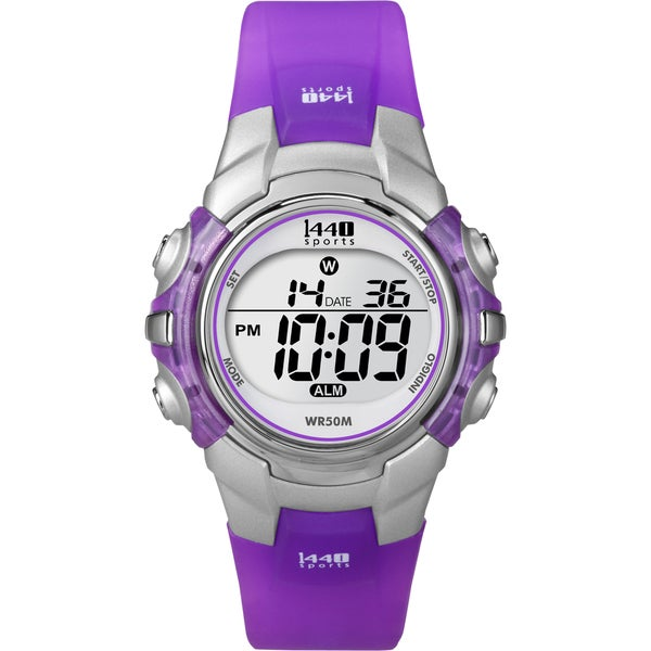 Timex Women's T5K459 1440 Sports Digital Silvertone Case Translucent Purple Watch