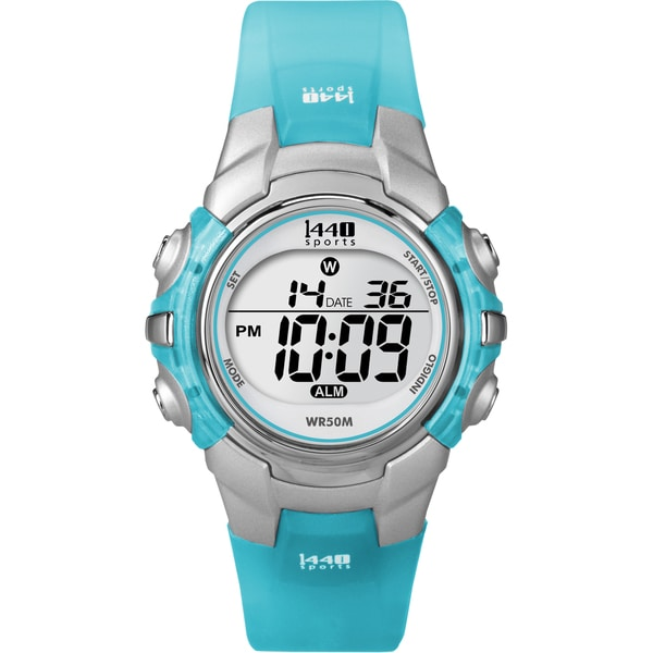 852618063 Shop Timex Women's T5K460 1440 Sports Digital Silvertone Case Translucent  Blue Watch - Free Shipping On Orders Over $45 - Overstock - 6089789
