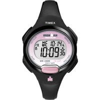 Timex Women's T5K522 Ironman Essential 10 Black/Pink Resin Strap Watch