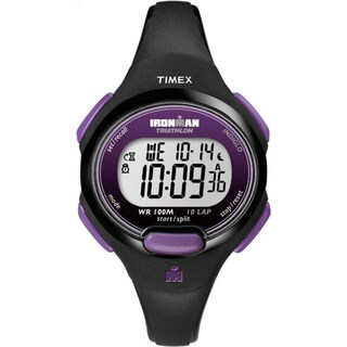 Timex Women's T5K523 Ironman Essential 10 Black/Purple Resin Strap Watch - 50 X 108/50 x 120/50 X 84