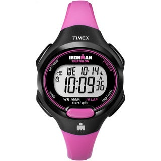Timex Women's T5K525 Ironman Essential 10 Mid-Size Pink/Black Resin Strap Watch