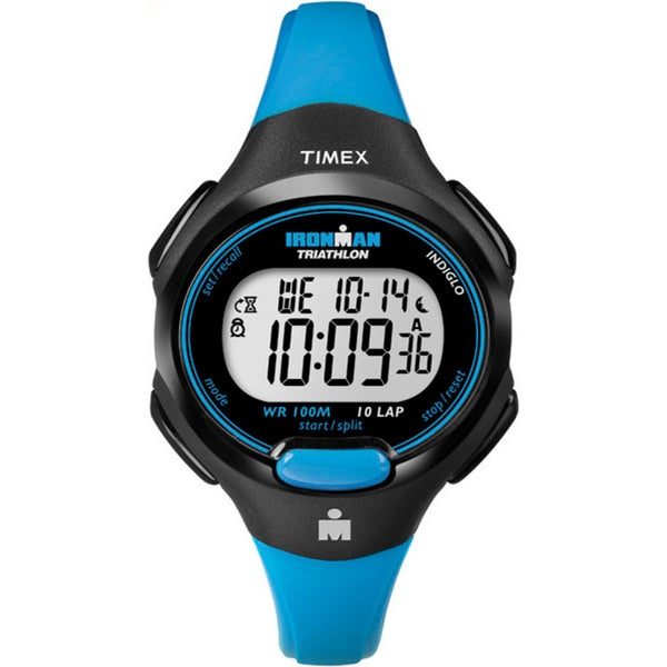Timex Women's T5K526 Ironman Traditional 10-lap Bright Blue/ Black Watch