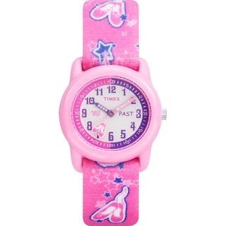 Timex Kids' T7B151 Time Teacher Pink Ballerina Elastic Fabric Strap Watch