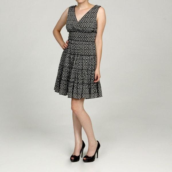 Jessica Howard Women's White/Black Empire Waist Dress