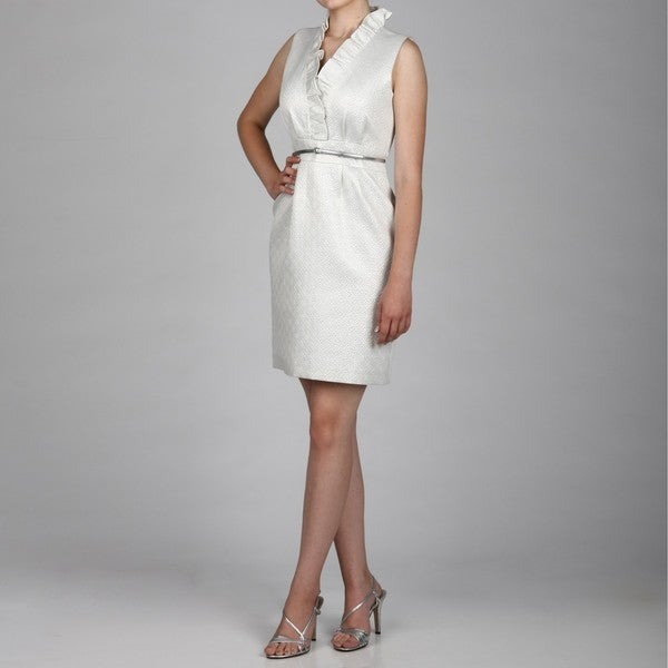 Jessica Howard Women's Petite Ruffle Neck Dress