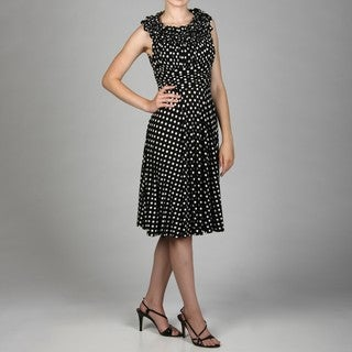 Jessica Howard Women's Petite Ruffle Neck Ruche Waist Fit Dress