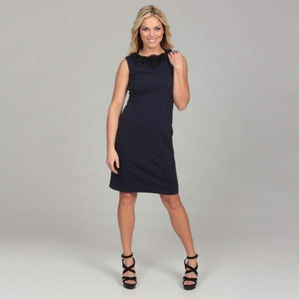 Jessica Howard Women's Navy Embellished Neckline Dress