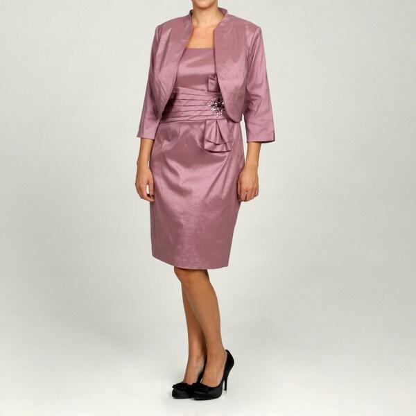 Jessica Howard Women's Plus 2-peice Bolero Jacke Pleated Bowtie Waist Sheath Dress