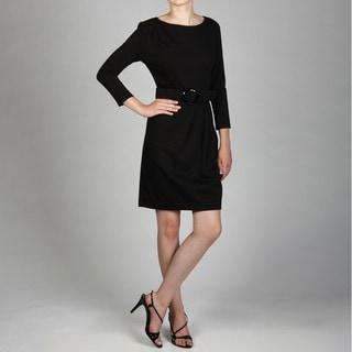 Jessica Howard Women's Asymmetrical Pleat Belted Sheath Dress