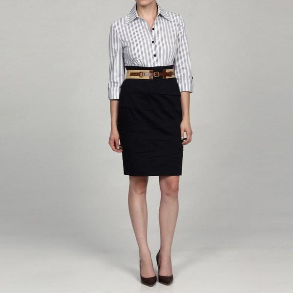 Jessica Howard Women's 3/4-Sleeve Belted Dress
