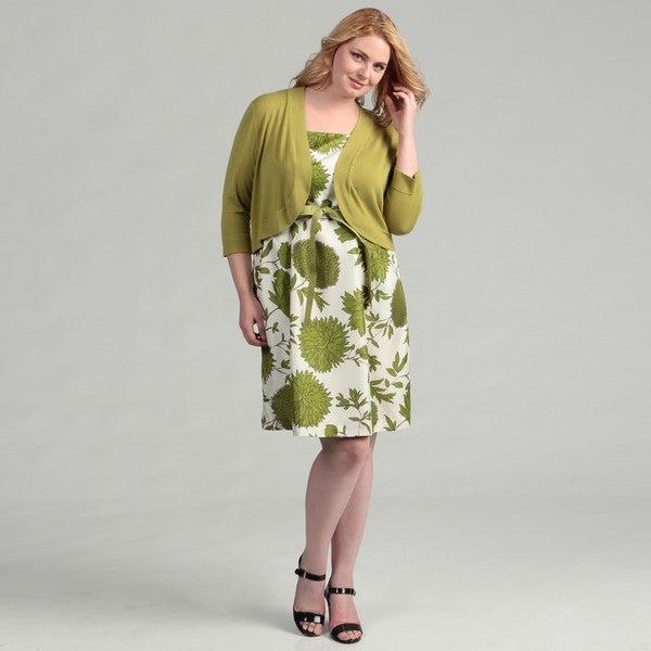Jessica Howard Women's Plus Belted 2-piece Sweater Dress