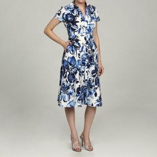 Jessica Howard Women's Petite Blue Button Front Belted Waist Dress