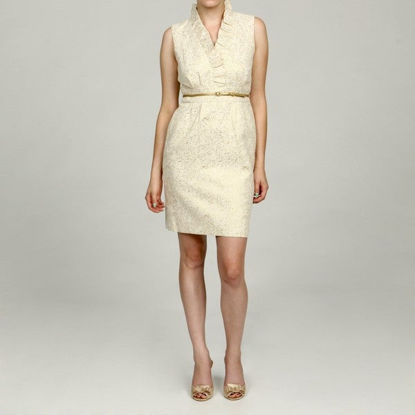 Jessica Howard Petite Ivory Ruffle Neck Dress