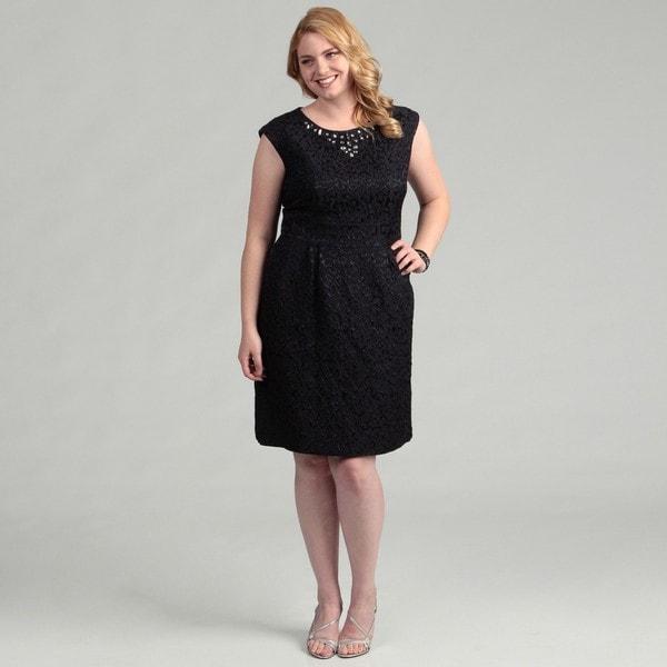 Shop Jessica Howard Womens Plus Size Navy Cap Sleeve Beaded Dress