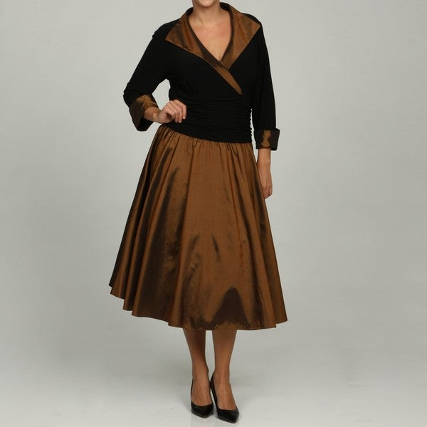 Shop Jessica Howard Womens Plus Size Wing Collar Ruche Waist Dress