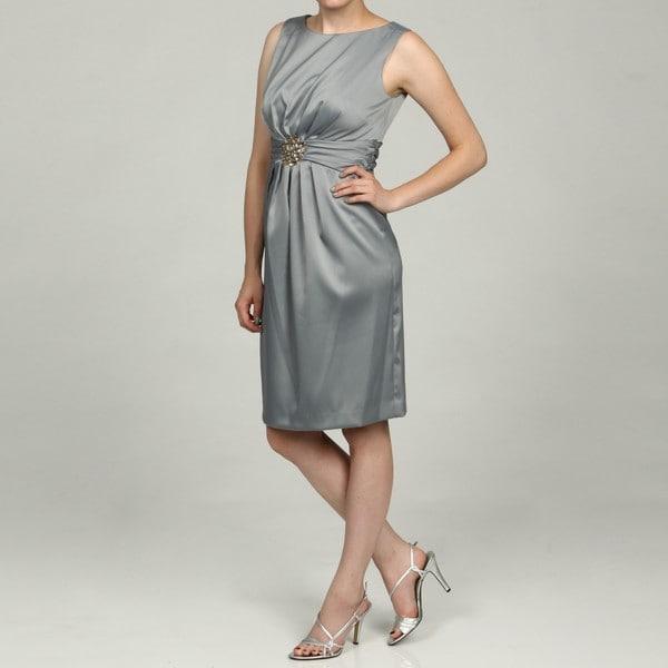 Jessica Howard Women's Silver Ruched Waist Sheath Dress