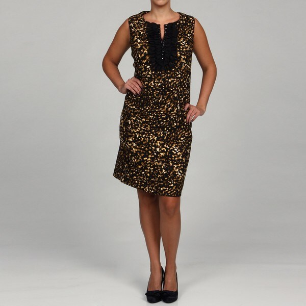 Jessica Howard Women's Plus Sleeveless Ruffle Beaded Sheath Dress