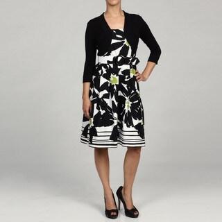 Jessica Howard Women's Petite 2-piece Black Pleated Belted Dress FINAL SALE