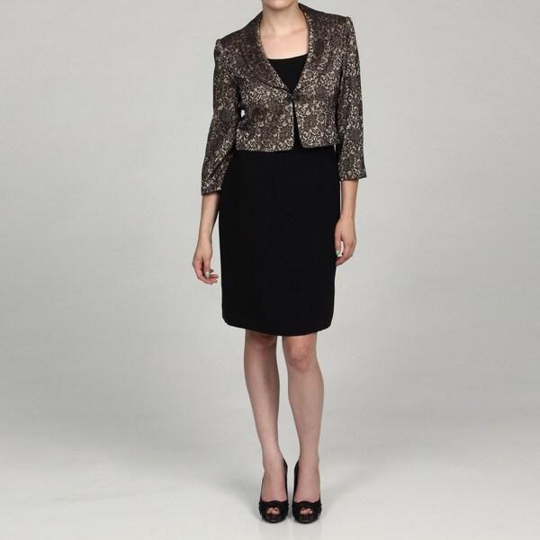 Jessica Howard Petite Black/Champagne 2-Piece Dress