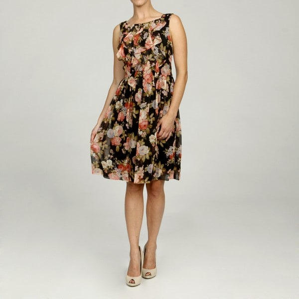 Jessica Howard Petite Printed Ruffle Front Dress