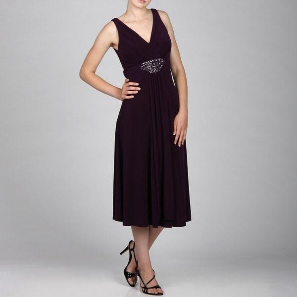 Jessica Howard Women's Sleeveless Sindonesiae Ruche Beading Drape Front Dress