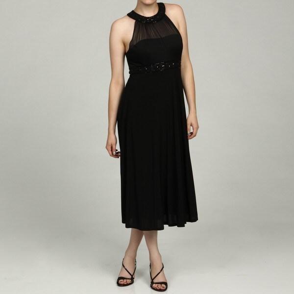 Jessica Howard Women's Black Beaded Neck and Waist Dress