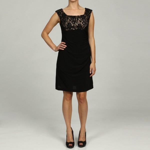 Jessica Howard Petite Laced Empire Waist Ruch Dress