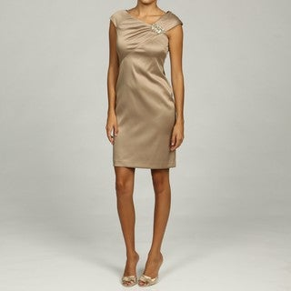Jessica Howard Petite Beaded Asymmetrical Neckline Sheath Dress