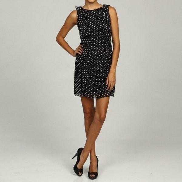 Jessica Howard PetiteTiered Ruffle Drape Front Dress