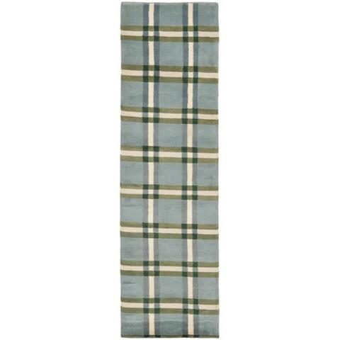"Safavieh Hand-knotted Lexington Plaid Grey Wool Rug - 2'6"" x 8'"