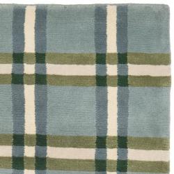 Attractive ... Safavieh Hand Knotted Lexington Plaid Grey Wool Rug (2u00273 X 8u0027