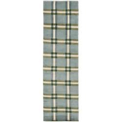 Safavieh Hand-knotted Lexington Plaid Grey Wool Rug (2'3 x 8')