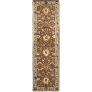 Safavieh Handmade Heritage Timeless Traditional Brown/ Blue Wool Rug (2'3 x 8')