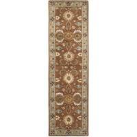 "Safavieh Handmade Heritage Timeless Traditional Brown/ Blue Wool Rug - 2'3"" x 8'"