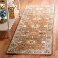 Safavieh Handmade Heritage Timeless Traditional Brown/ Blue Wool Rug - 2'3 x 14'