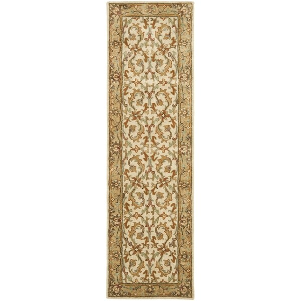 "Safavieh Handmade Heritage Timeless Traditional Beige/ Gold Wool Rug - 2'3"" x 8'"