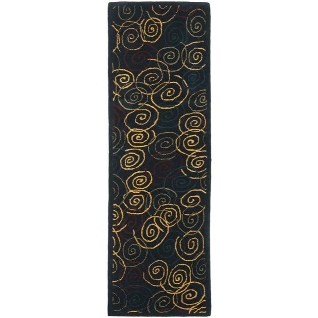 Safavieh Handmade Swirls Navy Wool Rug (2'3 x 7'6)